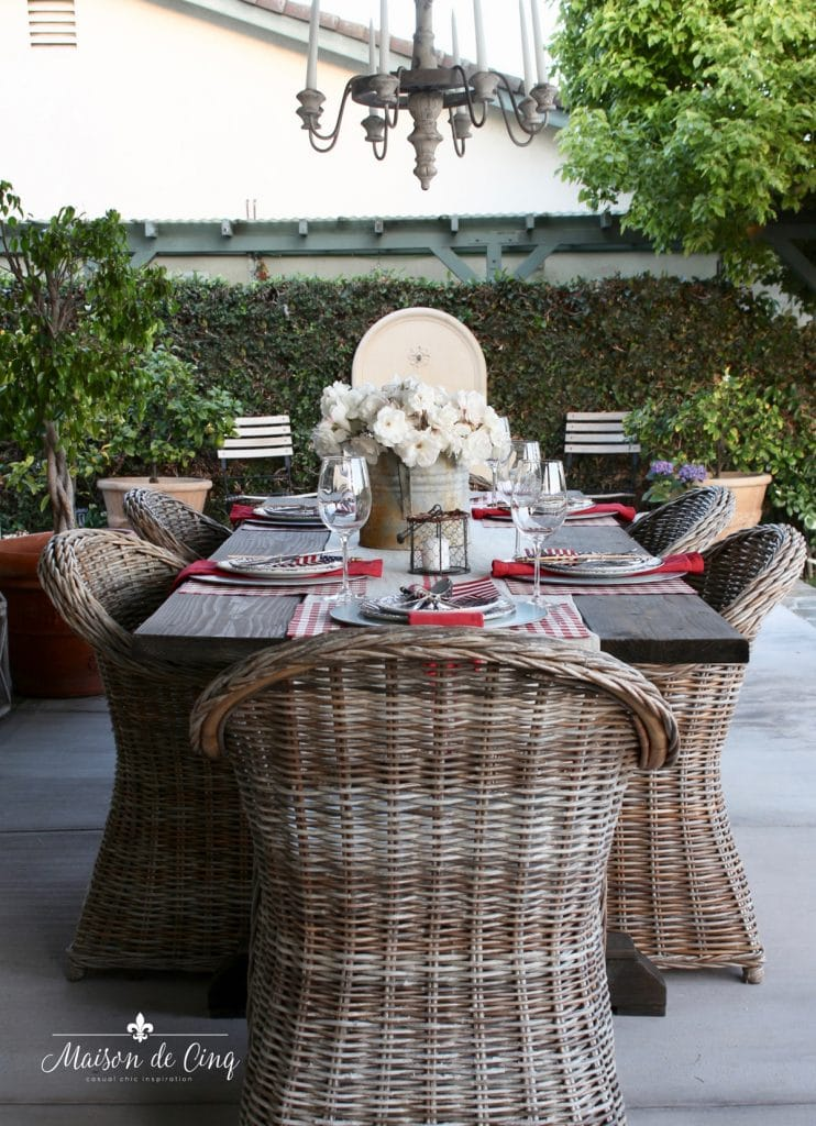 gorgeous outdoor patio table with wicker chairs patriotic table setting