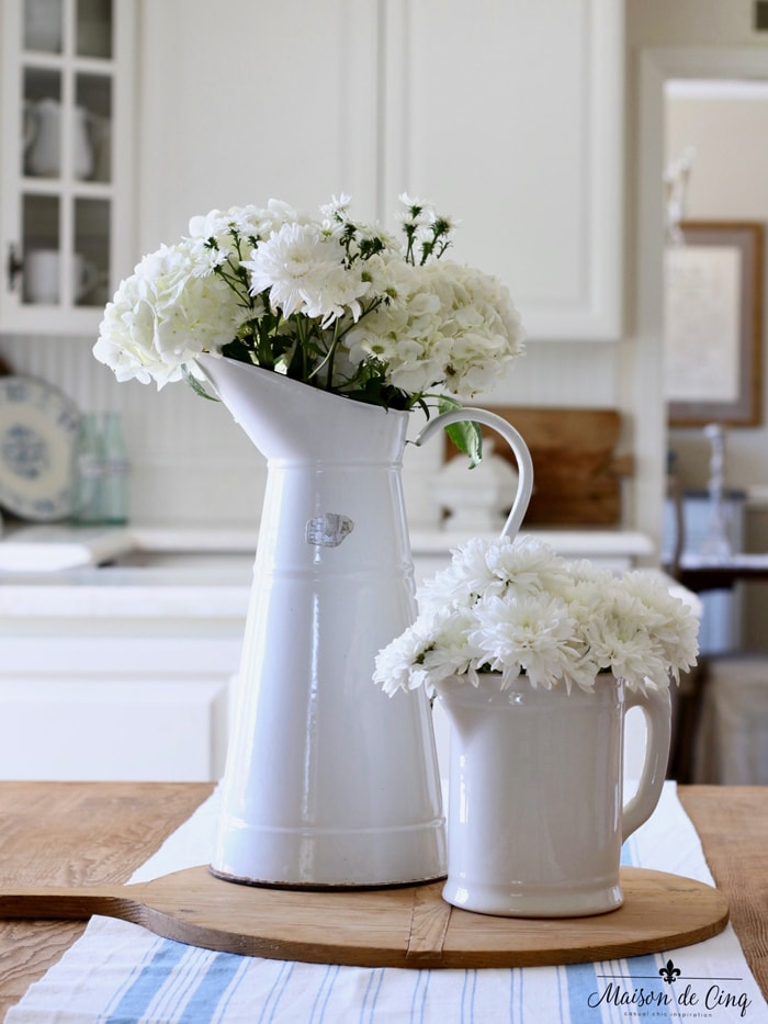 French white enamel pitcher essentials for summer