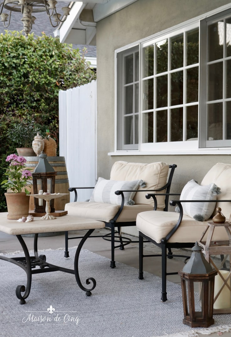 outdoor patio refresh new striped pillows from Serena & Lily French country outdoor space