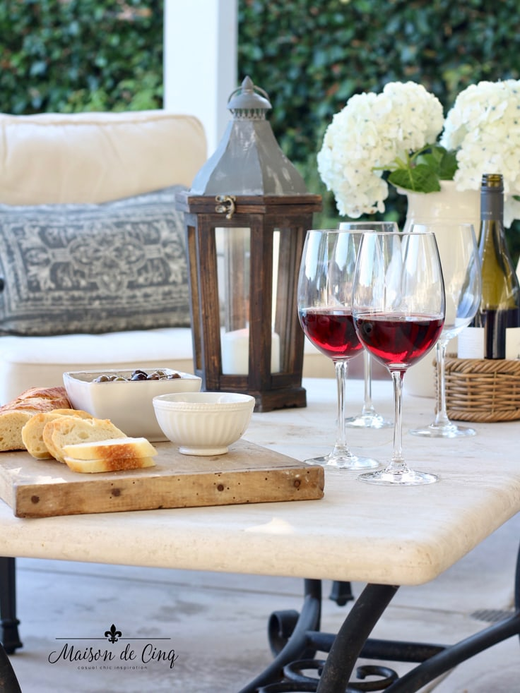 wine and cheese on the patio summer entertaining ideas