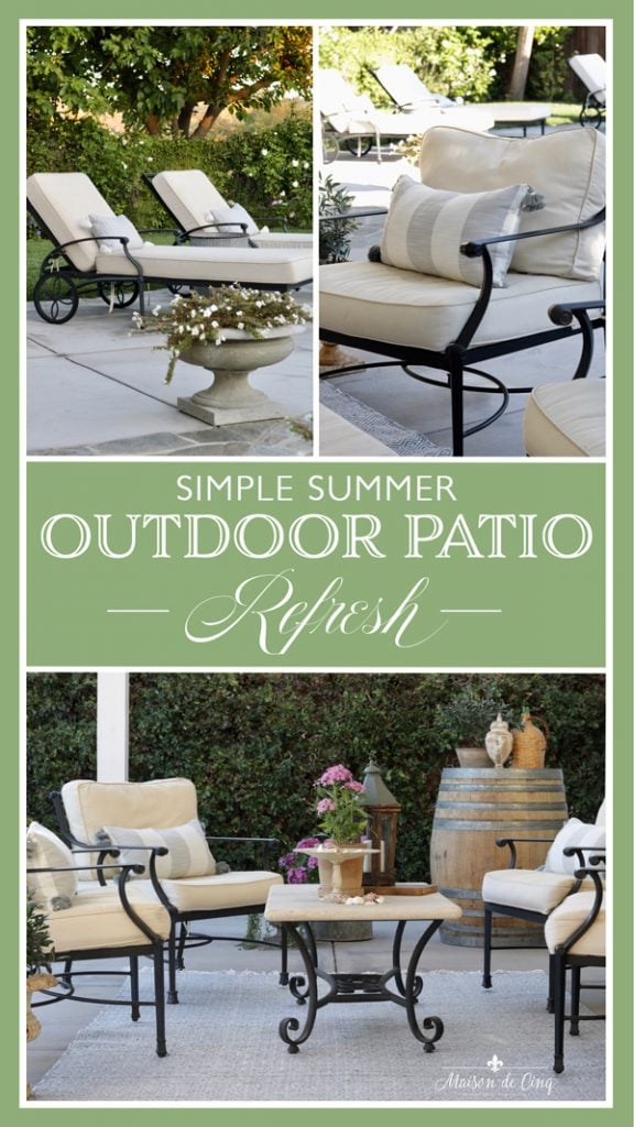 outdoor patio refresh French European outdoor inspired space