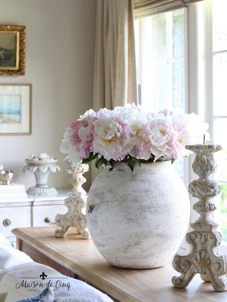 stunning pink peonies in olive jar French farmhouse country living room