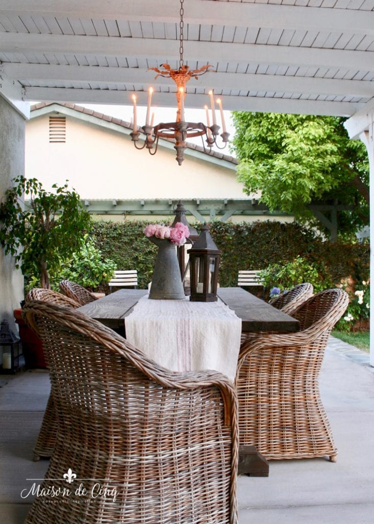 wicker chairs farmhouse table gorgeous outdoor space summer entertaining
