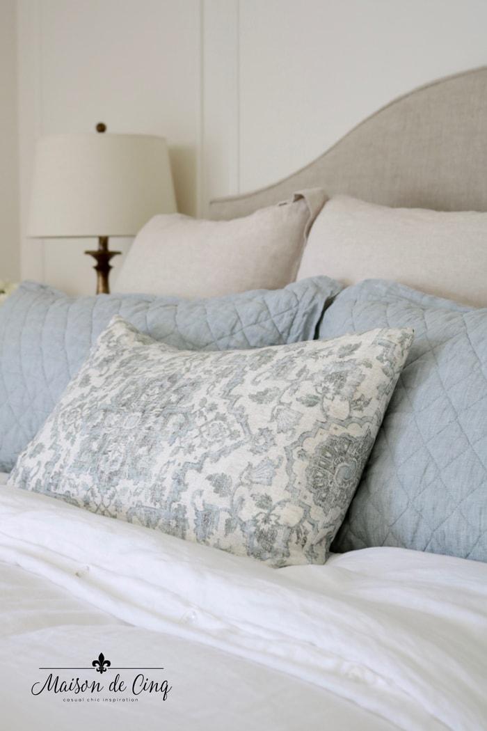 favorite bedding formula Euro pillows shams and decorative pillows French farmhouse bedroom