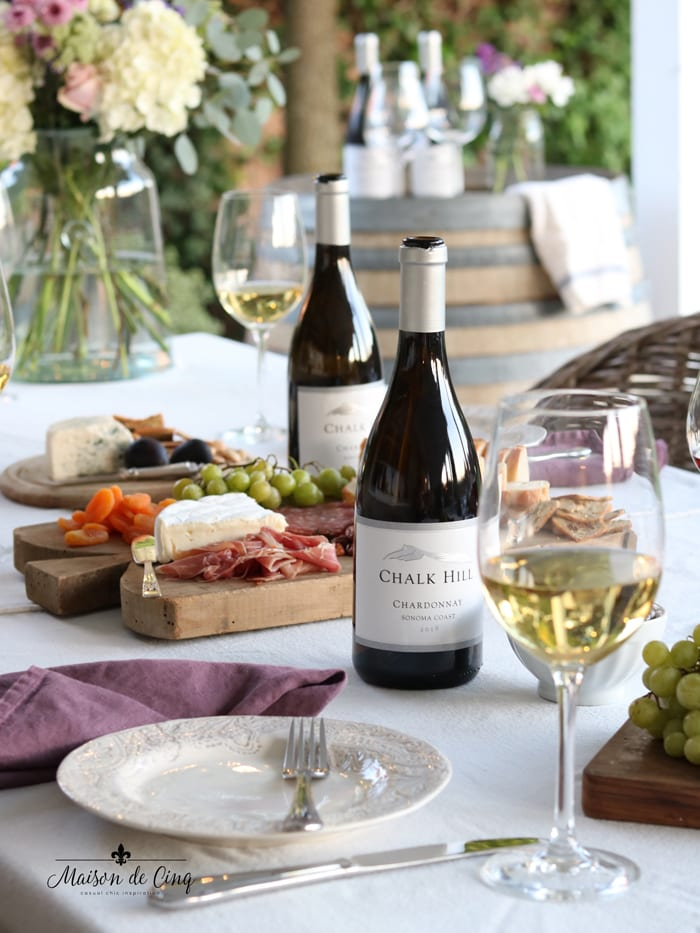 summer wine and cheese party with Chalk Hill wines