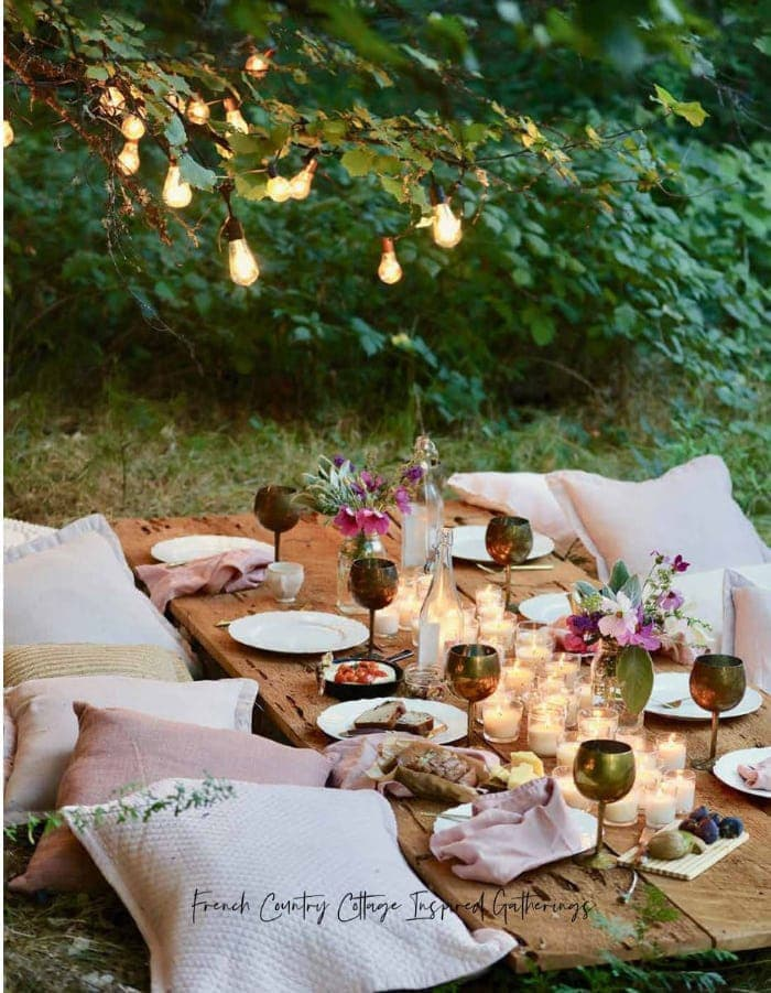 entertaining book with table setting idea in woods
