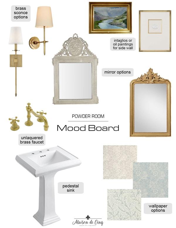 French farmhouse European inspired powder room mood board