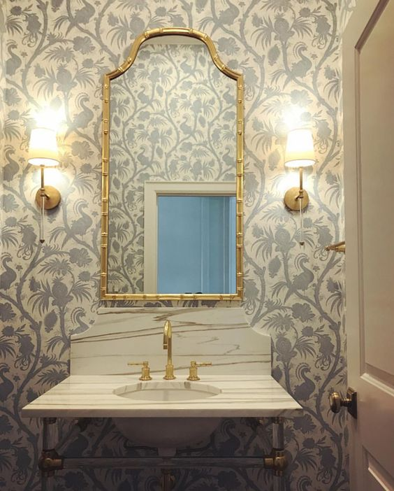 powder room inspiration gold mirror wallpaper marble sink sconces