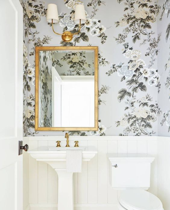 powder room inspiration floral wallpaper gold mirror vertical shiplap