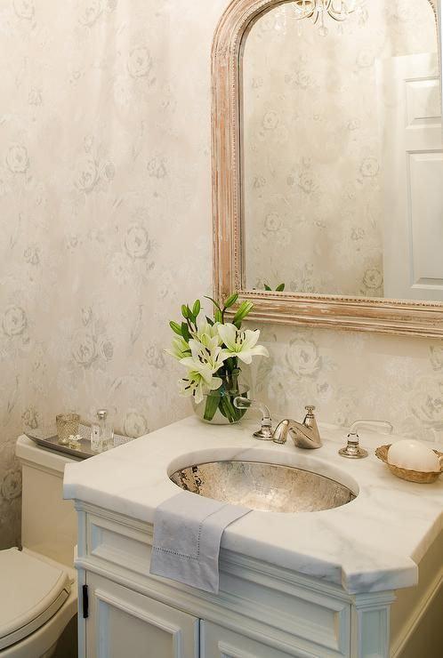 powder room inspiration gorgeous subtle wallpaper wood mirror