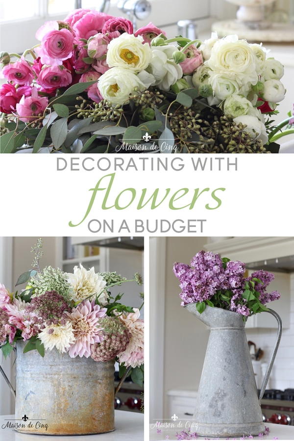decorating with flowers on a budget banner Maison de Cinq
