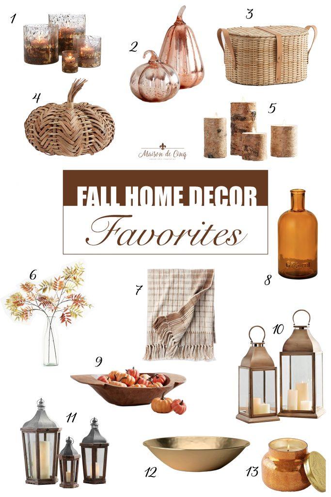 Fabulous Fall Home Decor Favorites graphic Maison de Cinq