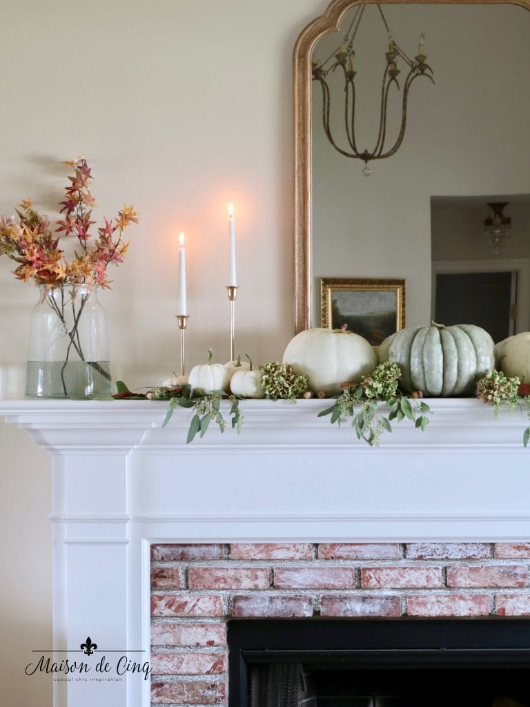 easy fall mantel decorating ideas vases with leaves candlesticks pumpkins and eucalyptus