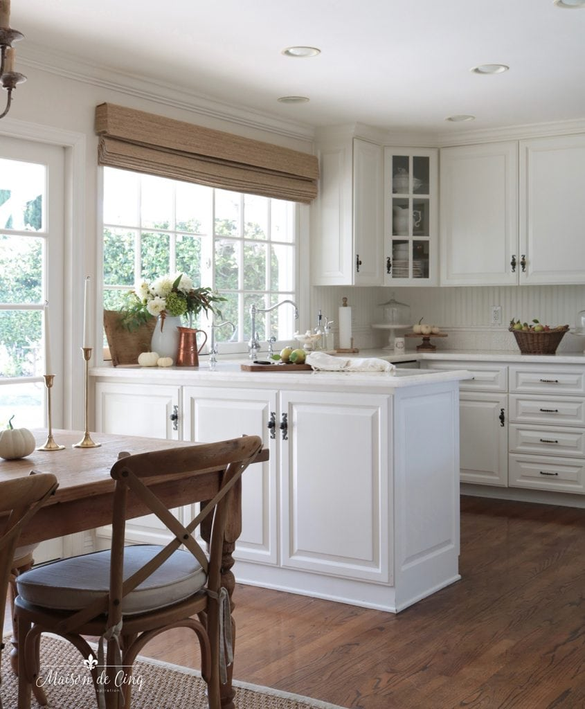 simple fall kitchen decorating ideas French country white kitchen