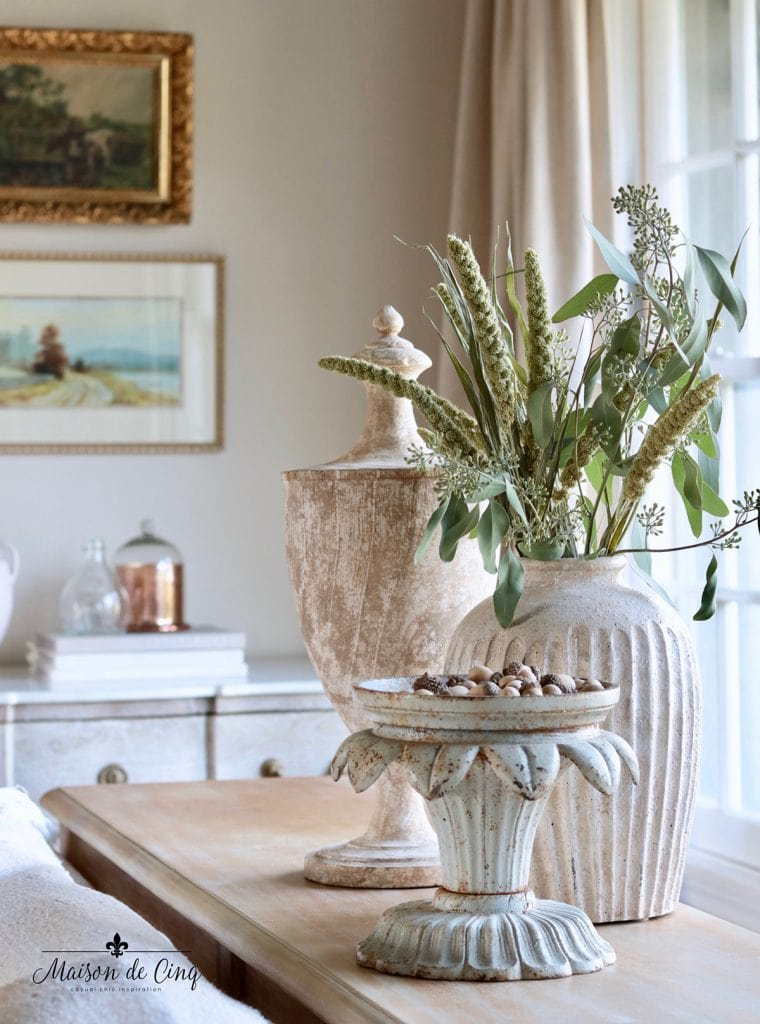 fall decor vignette grasses and eucalyptus in French country vase decorating ideas