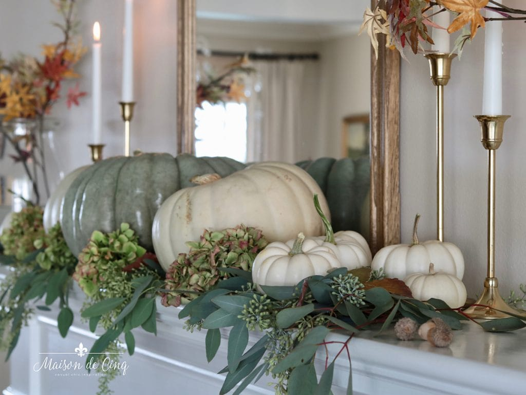easy elegant fall mantel with pumpkins and hydrangeas