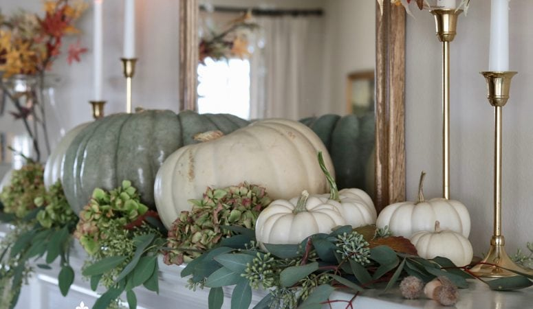 Easy & Elegant Fall Mantel using Soft Autumn Colors