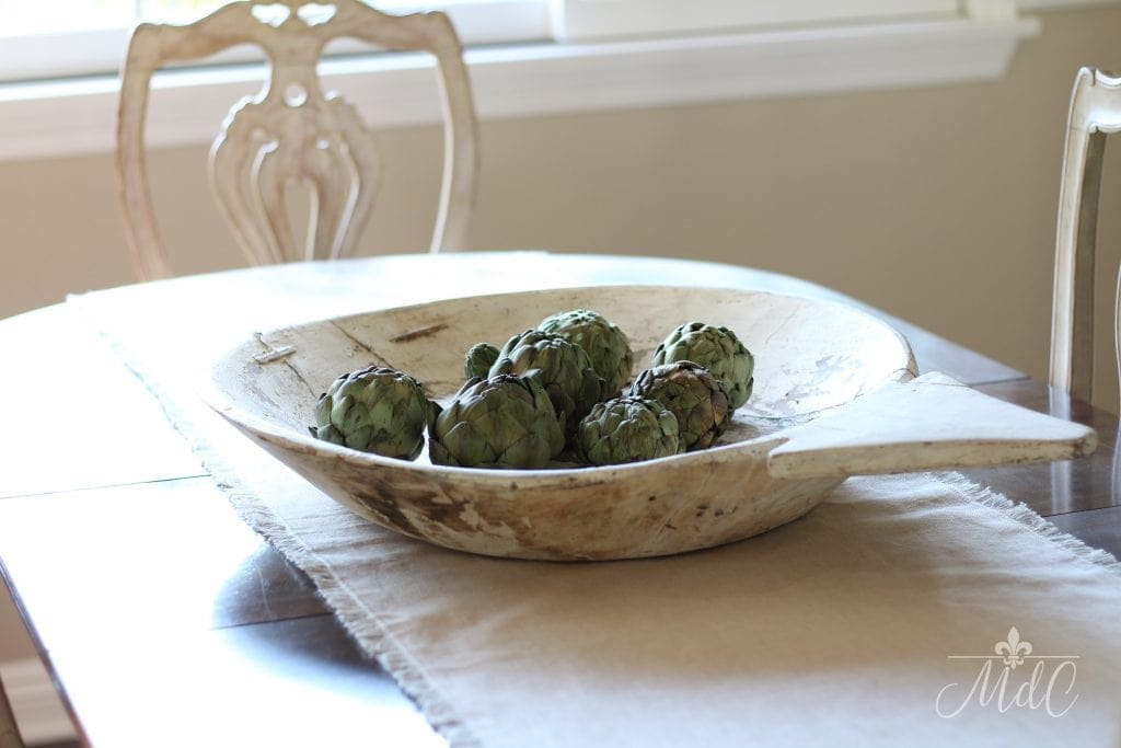 dried artichokes in vintage dough bowl fall french country decor