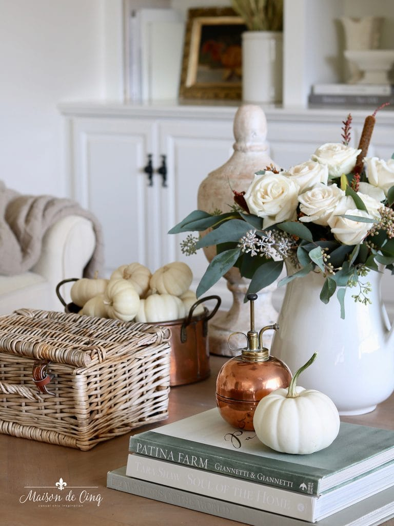 simple fall decorating ideas roses pumpkins and copper accents
