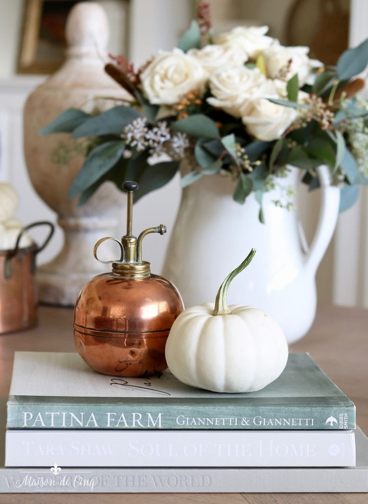 fall flowers with copper accents and white pumpkins simple fall decorating idea
