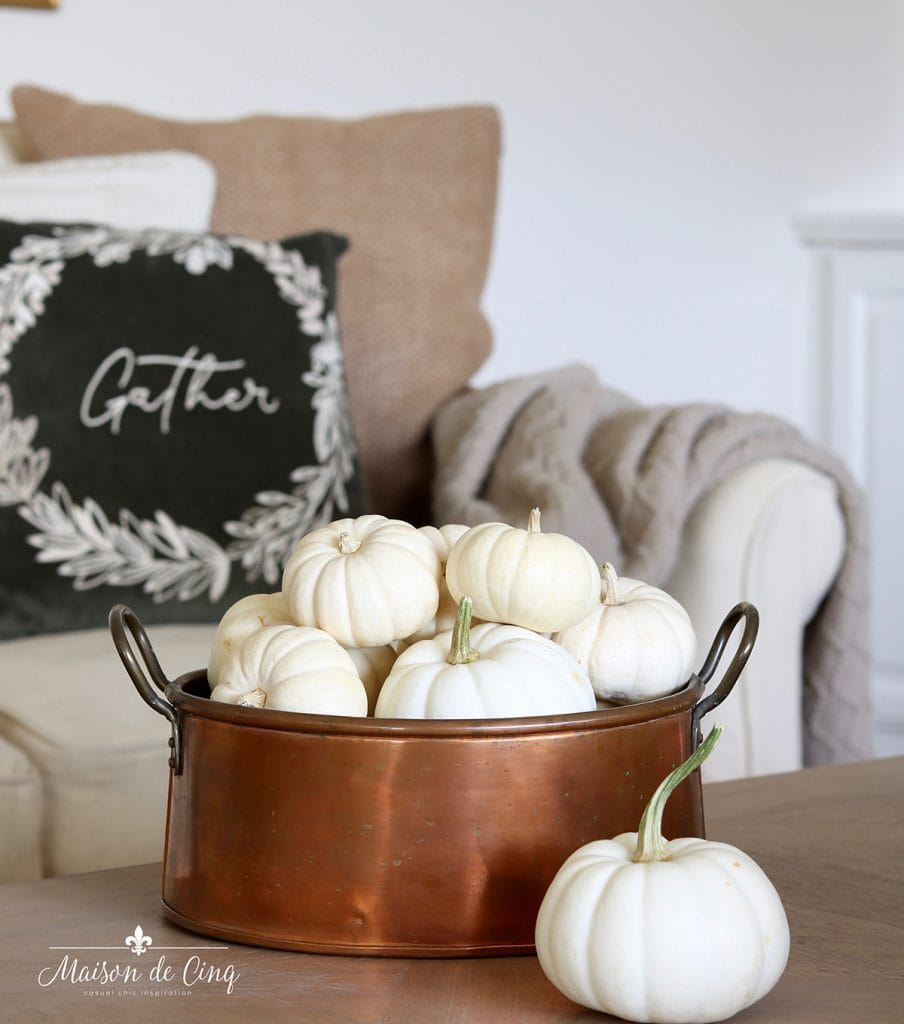 simple fall decor white pumpkins in copper pot
