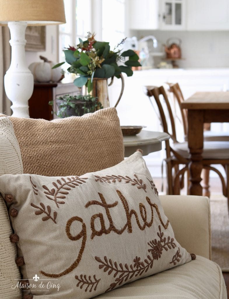 Pottery Barn Gather pillow fall family room decorating farmhouse kitchen