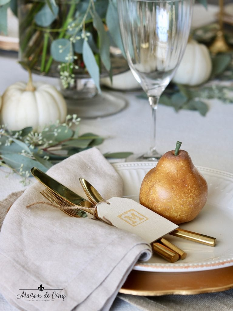 pear and place card with gold flatware Thanksgiving fall table setting