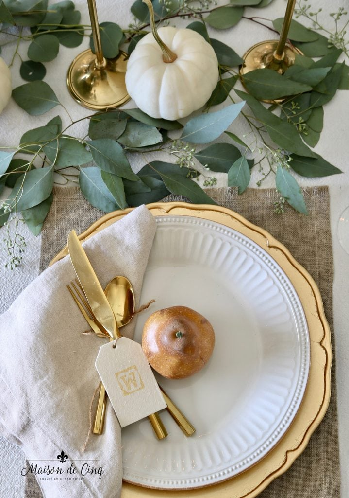 Thanksgiving place setting with pear and place card gold flatware