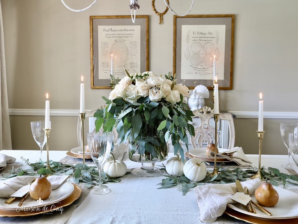 gorgeous neutral Thanksgiving table in French country dining room
