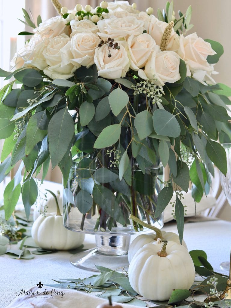 gorgeous white roses centerpiece fall or Thanksgiving table