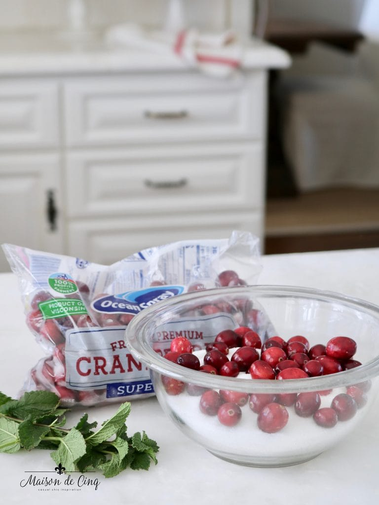 cranberries sugar and mint ingredients for holiday appetizer