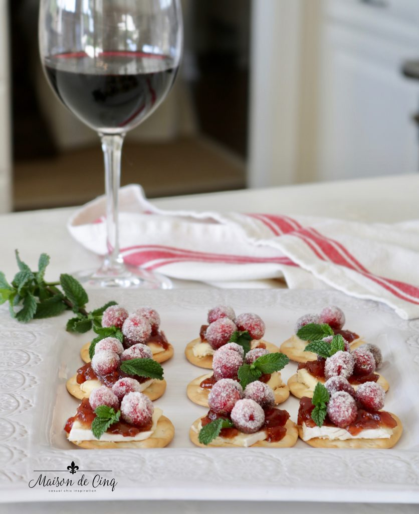 sparkling cranberry bites easy holiday appetizer on gorgeous white platter