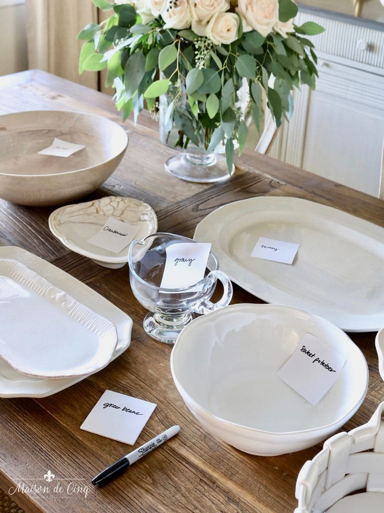 thanksgiving hosting tips label your serveware