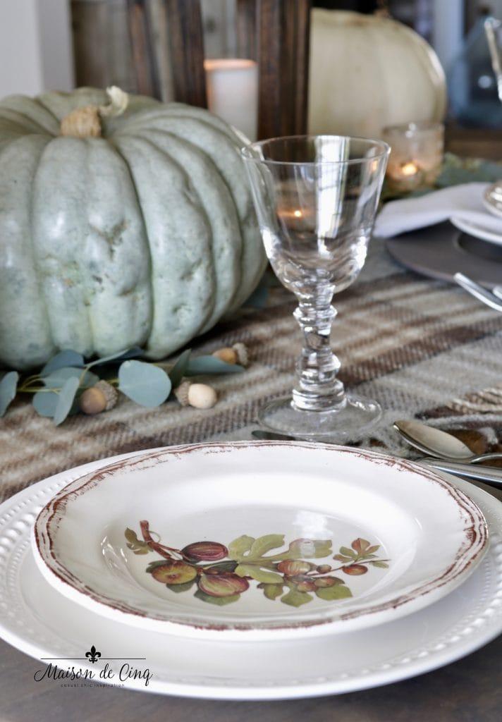 decorative salad plate plaid tablecloth and green pumpkins pretty Thanksgiving tablescape