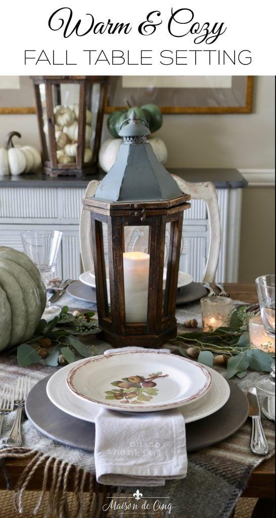 Warm & Cozy Fall Table Setting with Pumpkins & Plaid graphic Maison de Cinq