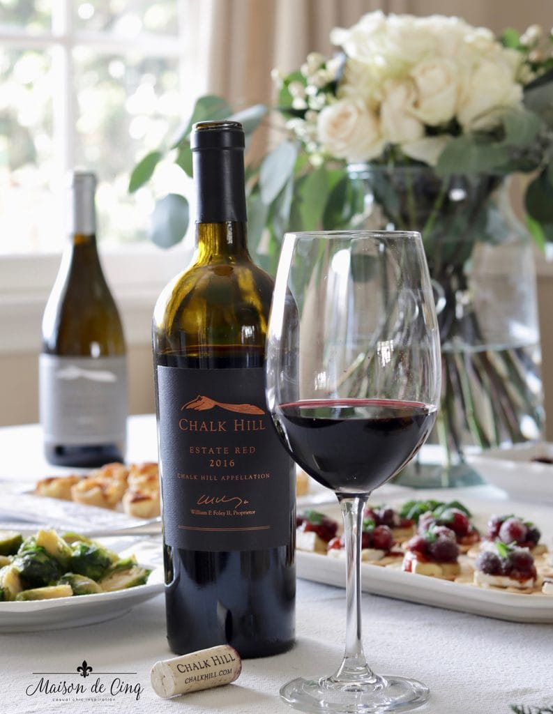 Chalk Hill estate red wine delicious for a holiday party