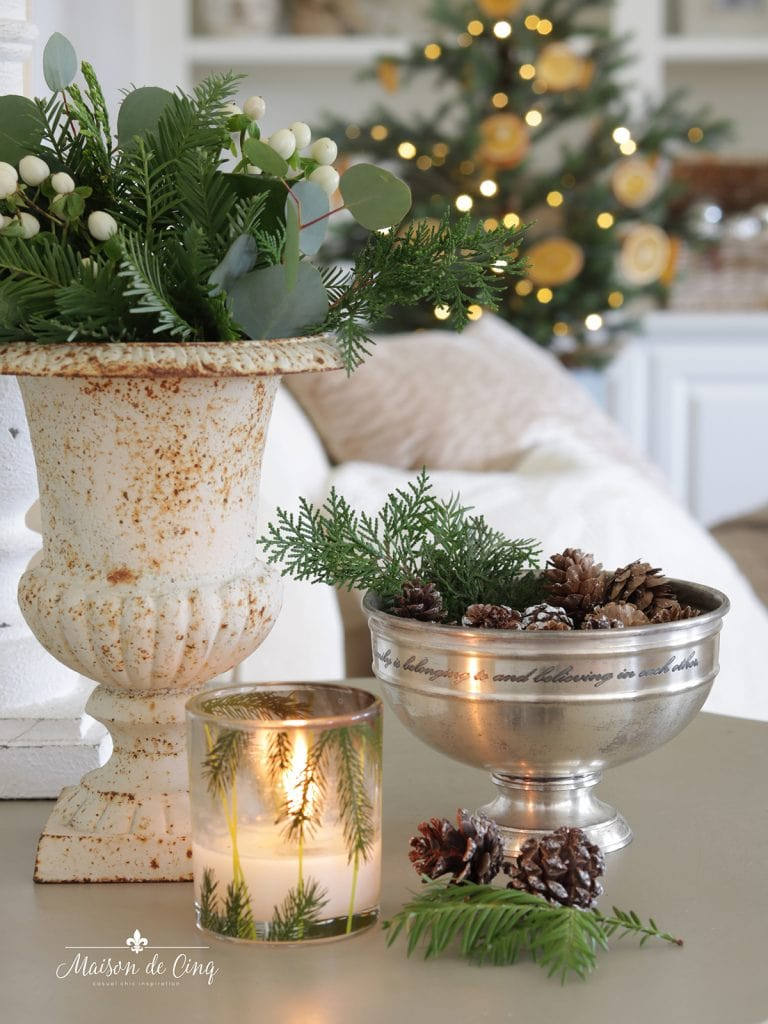pinecones in little silver bowl elegant and easy Christmas decorating French farmhouse style