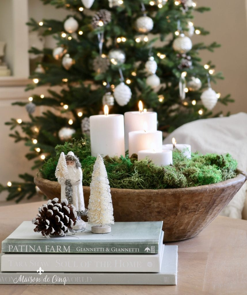gorgeous doughbowl with candles and moss French farmhouse European inspired Christmas decorating ideas