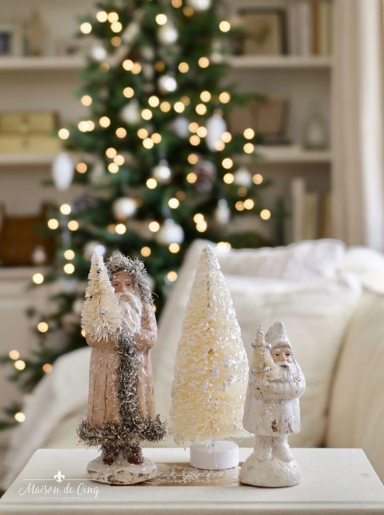 vintage santa bottle brush tree neutral French Christmas vignette