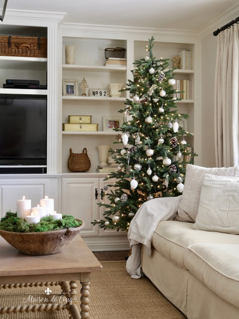gorgeous simple French Christmas decor tree with silver and white ornaments