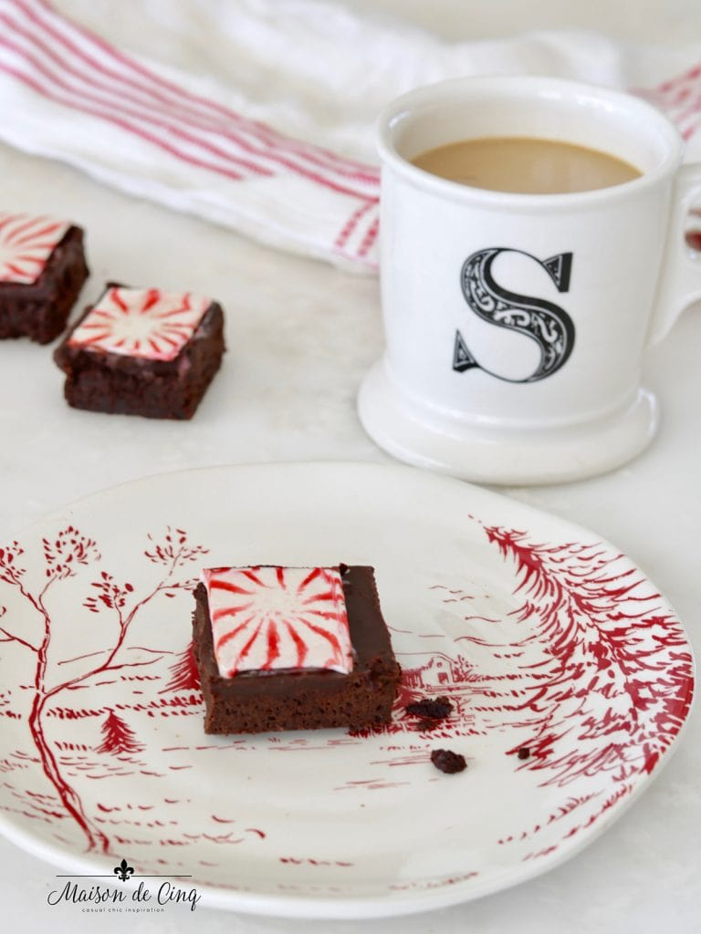 yummy chocolate peppermint brownies with coffee holiday snack