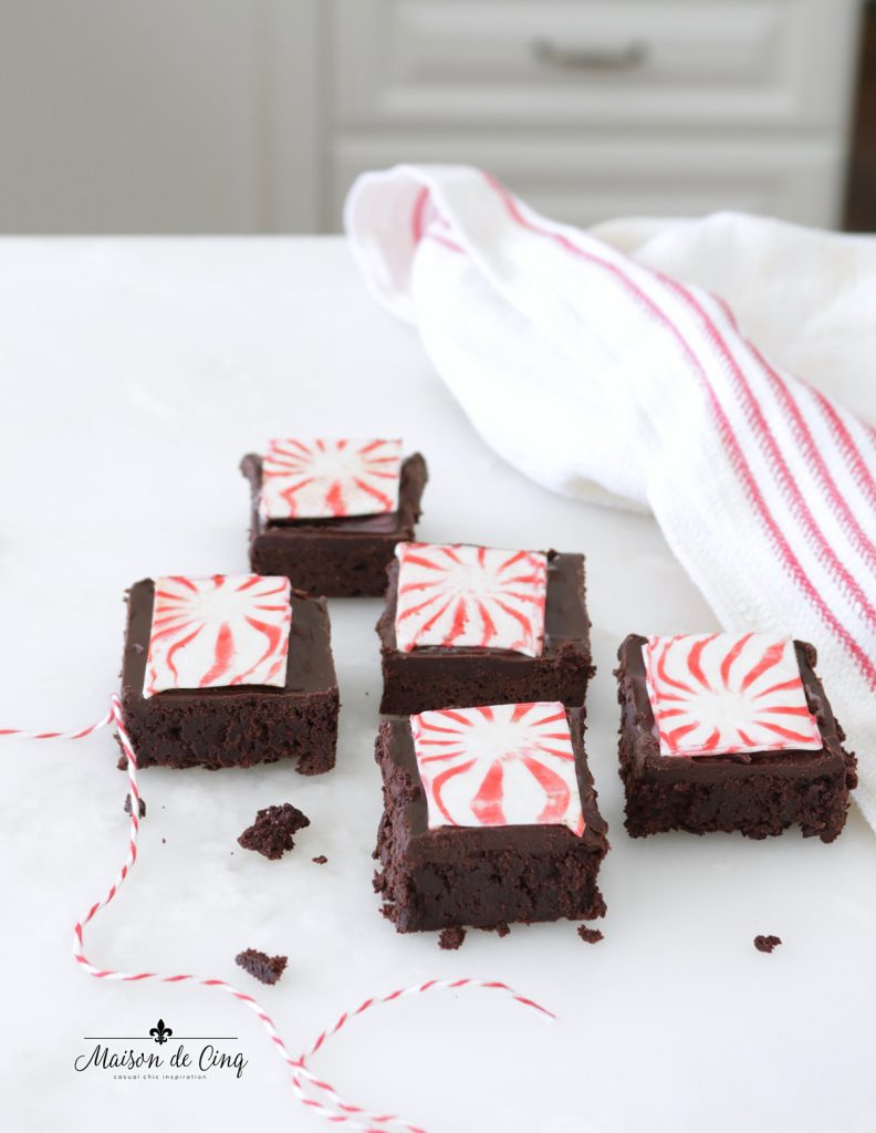 brownies with red and white peppermint candy tops Christmas dessert