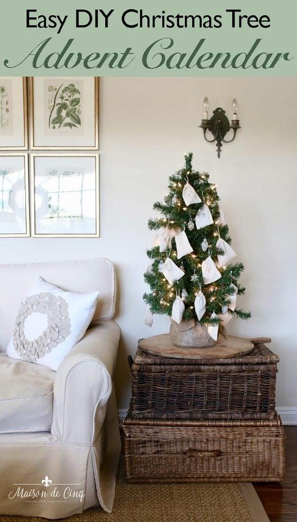 easy DIY Christmas tree advent calendar graphic