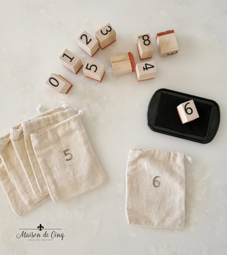 DIY advent calendar stamp pad number stamps and muslin bags