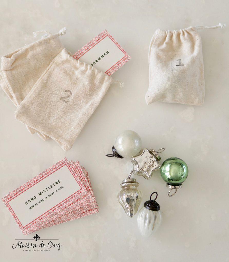 muslin bags and mercury glass ornaments for DIY advent calendar tree