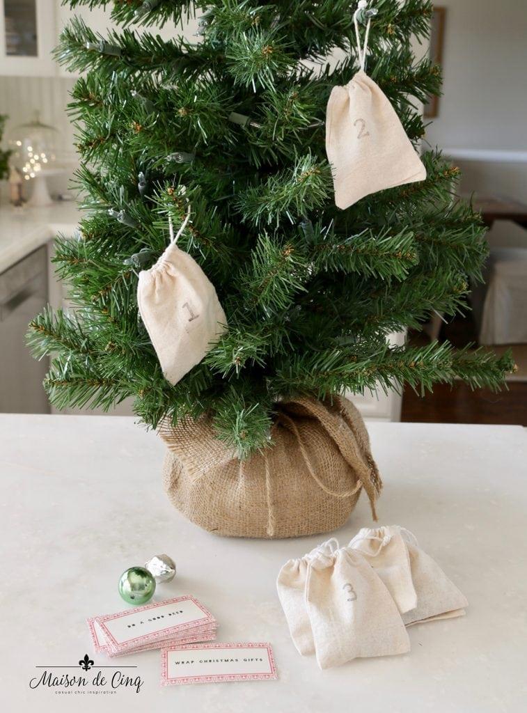 tabletop advent calendar christmas tree with muslin bags