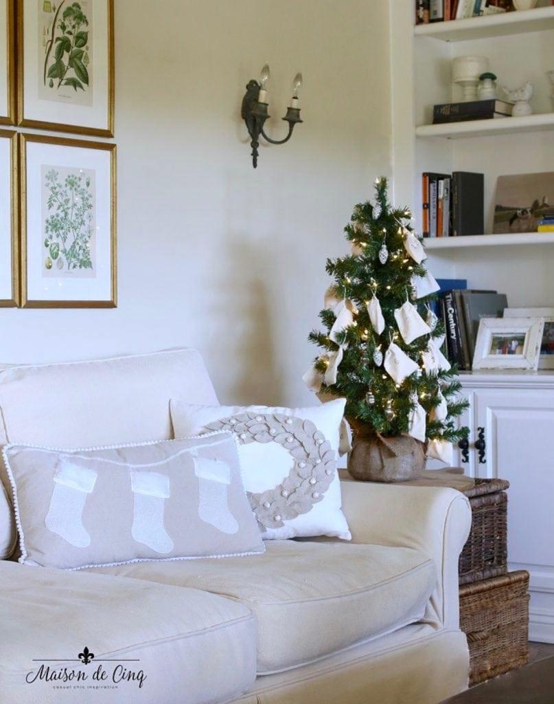 French farmhouse living room with cute advent calendar Christmas tree