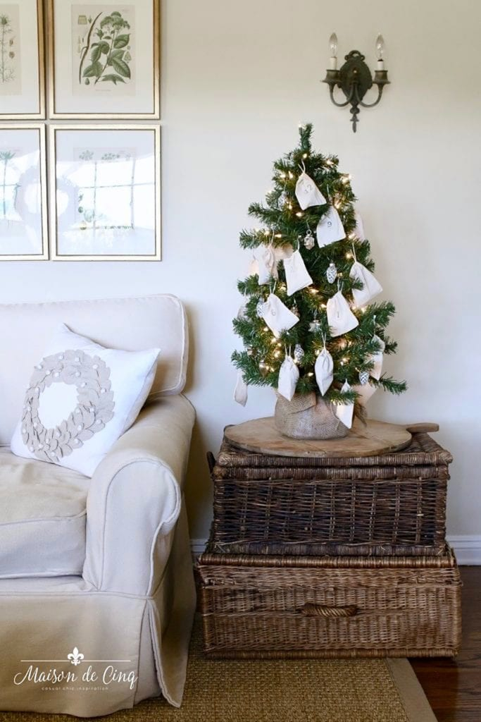 easy and adorable DIY advent calendar tabletop Christmas tree