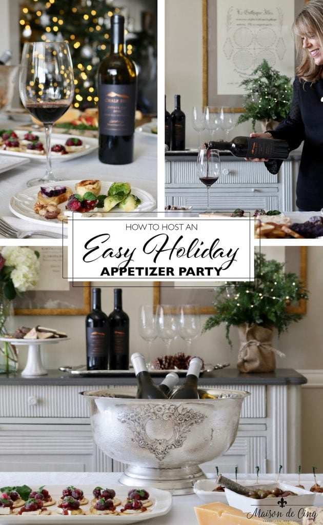 easy wine and appetizer holiday party graphic