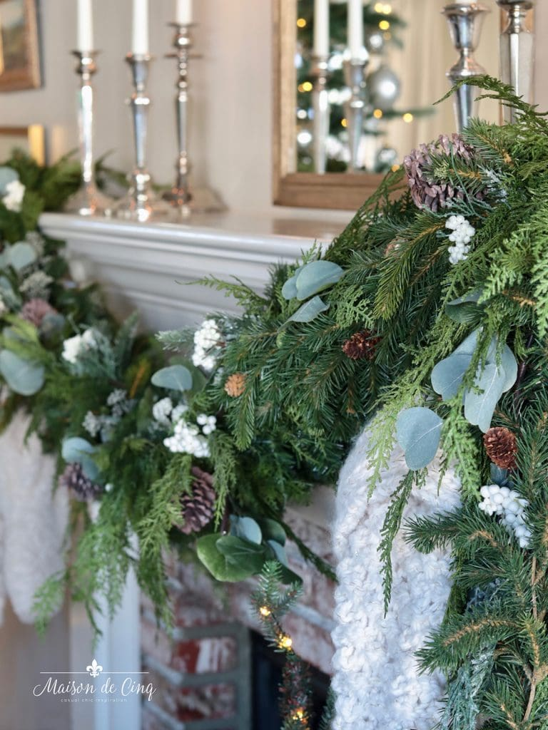 gorgeous garland on mantel Christmas decorating ideas
